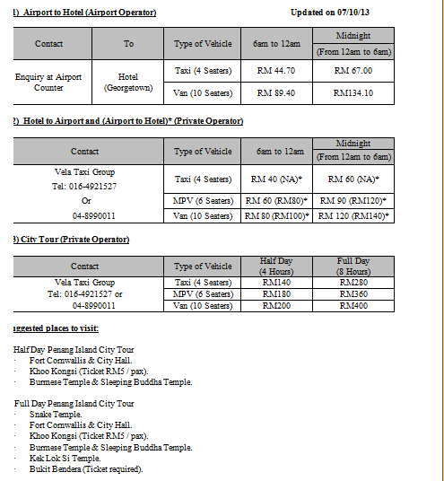 Airport Transfer & City Tour Information and Rates V.(2)