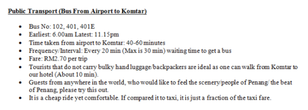 Public Transport (Bus from Airport to Komtar)